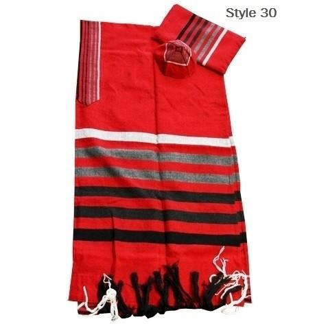 "Hand Made Wool Tallit Set In Reds 60""x80"" (150/200 cm) #70"
