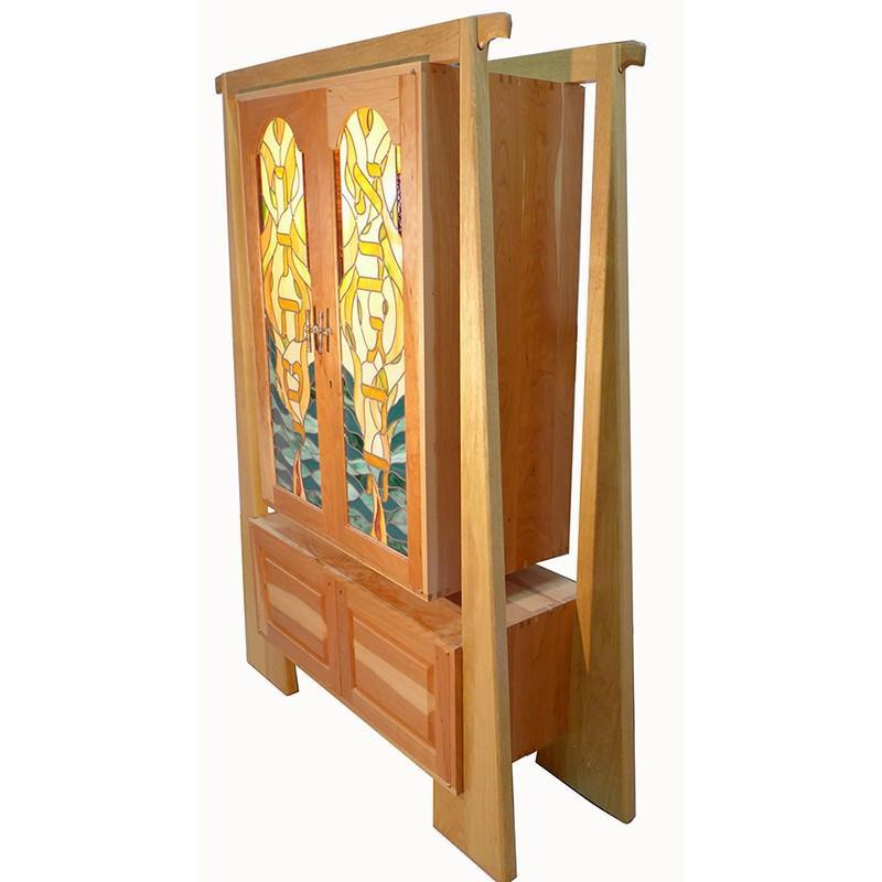 Hanging Aron Kodesh Synagogue Ark Stained Glass Doors