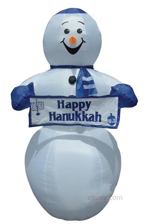 Hanukkah Inflatable Display Snowman For Kids 7'