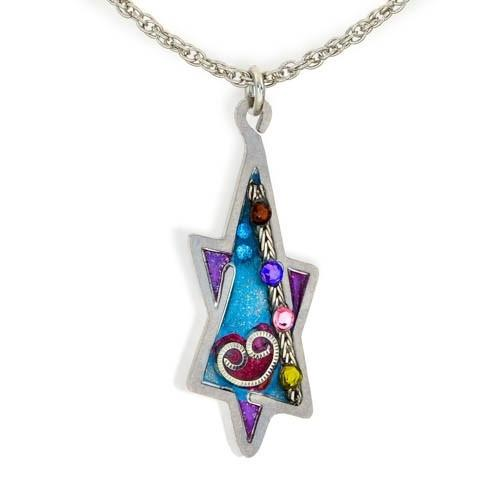Heart And Star Of David Necklace