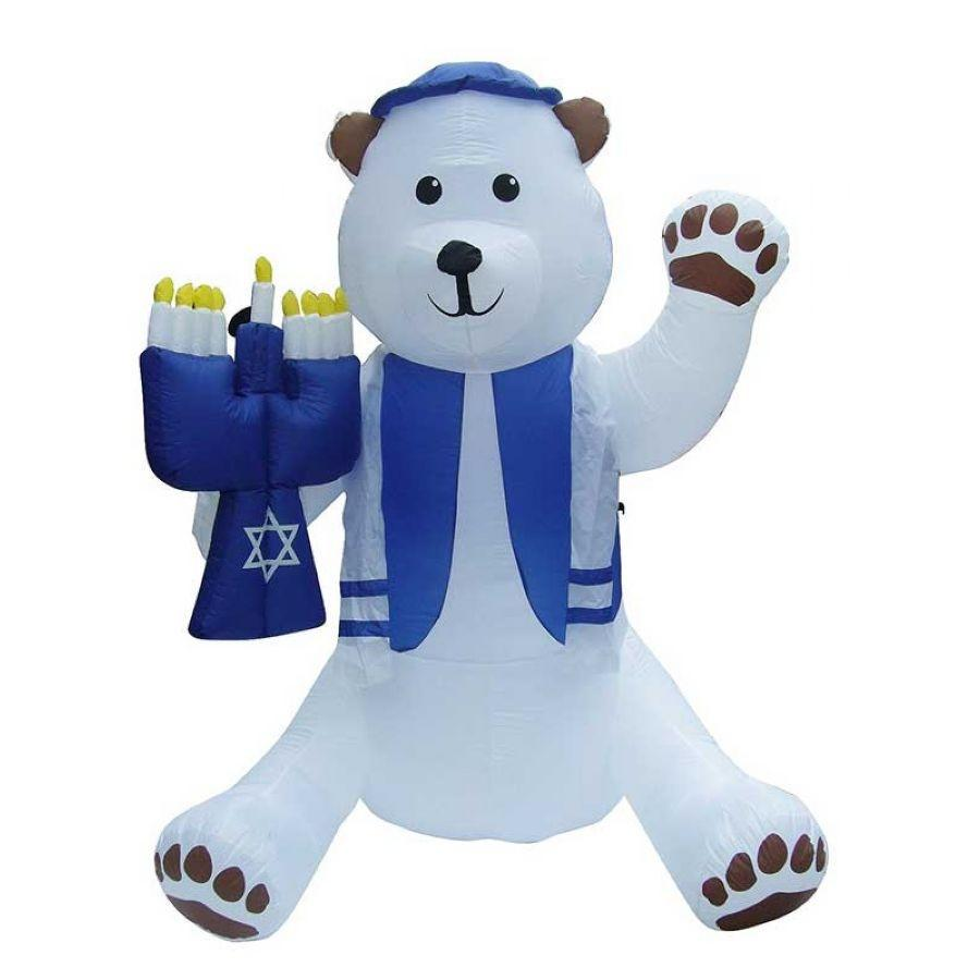 Inflatable Hanukkah Bear Outdoor Lawn Display 7'