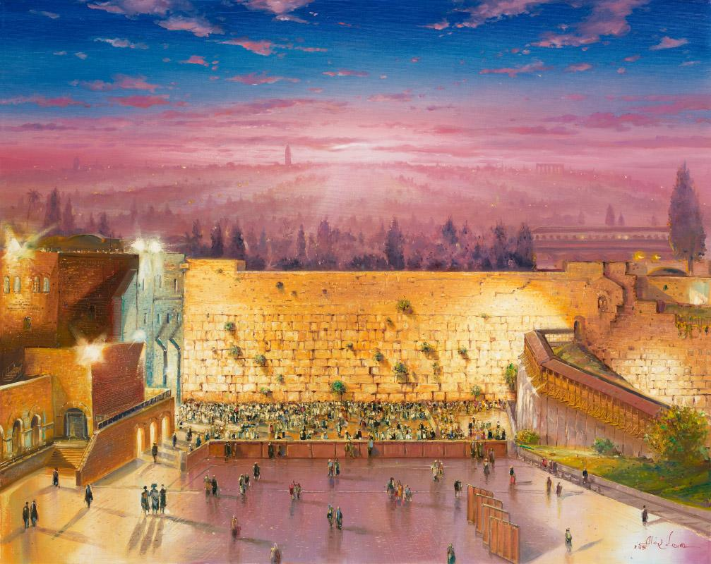 Inspirational Sunrise above the Kotel Canvas Art Work