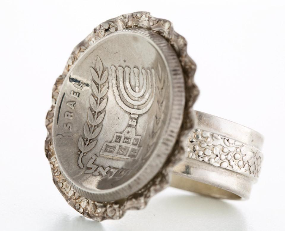 Israeli 1/2 Lira Old Coin Ring - Sterling Silver Menorah Ring Silver