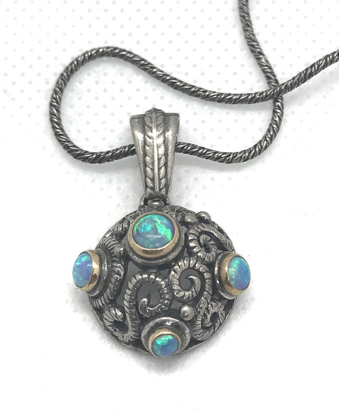 Israeli Dome Sterling Silver Opal Necklace Gift