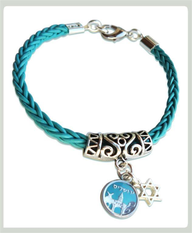 Jerusalem Coin Turquoise Leather Bracelet Jewish Jewelry White