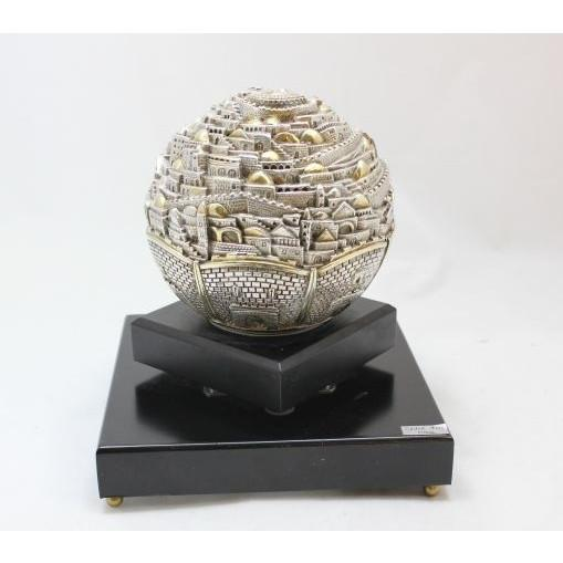 Jerusalem Globe Ball On Marble Stand Collectible 130 mm