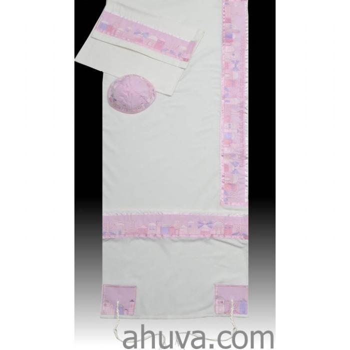 "Jerusalem Pink Women Tallit Set 51x72"" (130/180 cm) #55 Wool Embroidery to 10 letters"