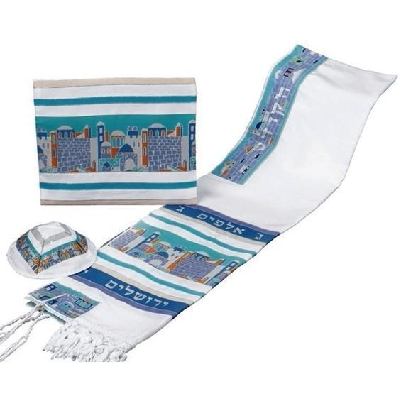 Jerusalem Tallit Set in Pastels