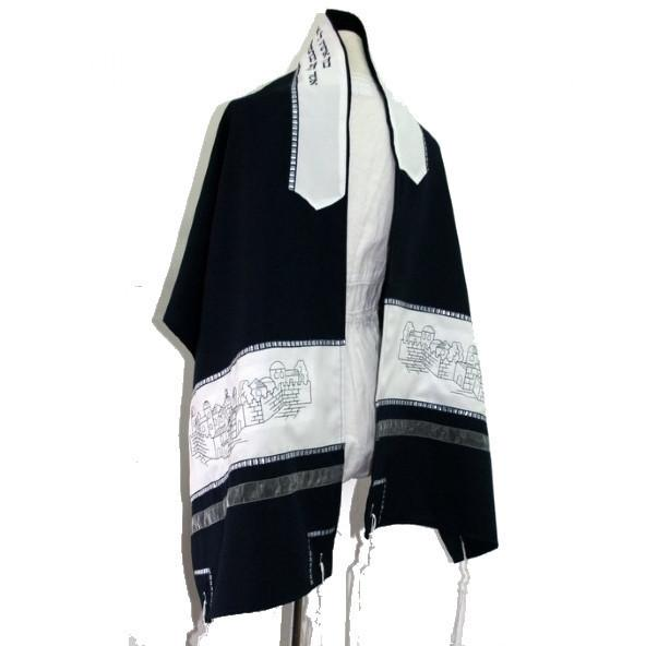 "Jerusalem Tallit Set - Navy Off White 3 Piece Set 20"" x 72"" (50/180cm) Wool Embroidery to 15 Letters"