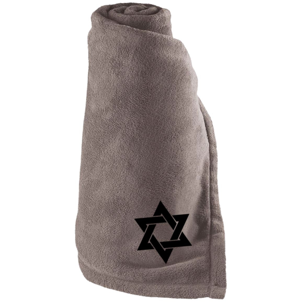 Jewish Embroidered Large Fleece Blanket Blankets Dark Green One Size