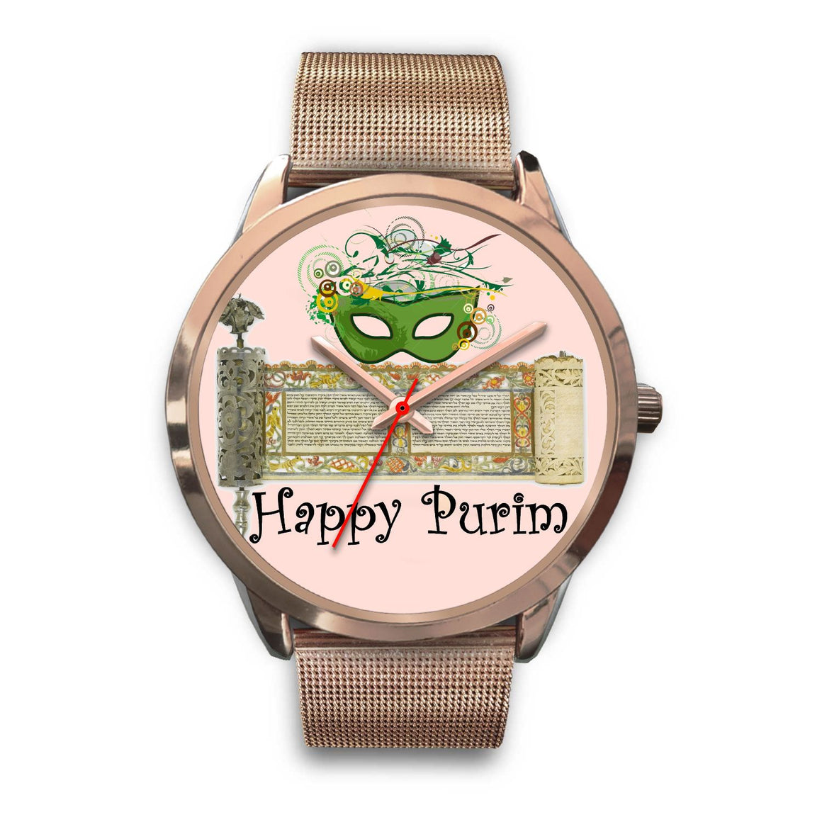 Jewish Purim Gift Watch Rose Gold Purim Timepiece Rose Gold Watch Mens 40mm Rose Gold Metal Link