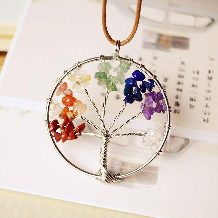 Jewish Tree Of Life Pendant Multicolor Crystal Stones necklace