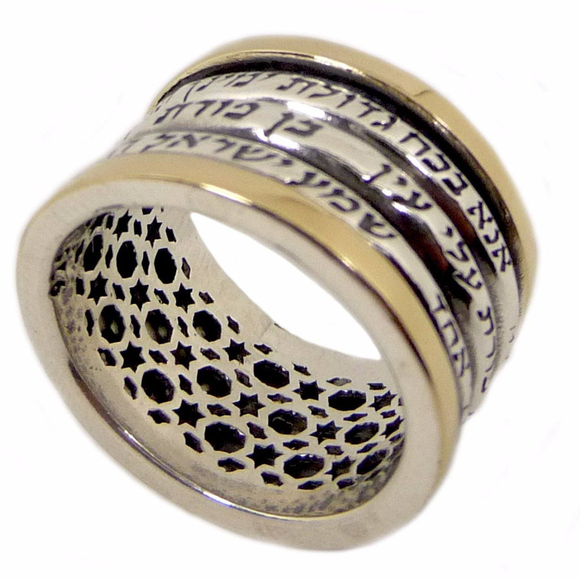 Kabbalah Rotating Ring With Gold And Silver Three Blessings