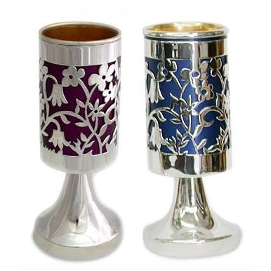 Kiddush Cup On Stem Colored Blue