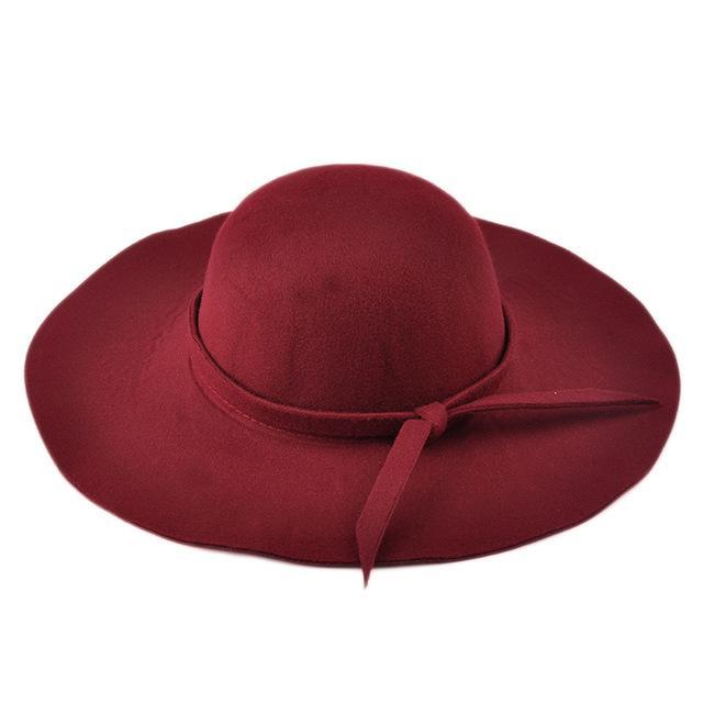 Lady's Wide Brim Wool Felt Fedora Hat In 6 Colors Headwear