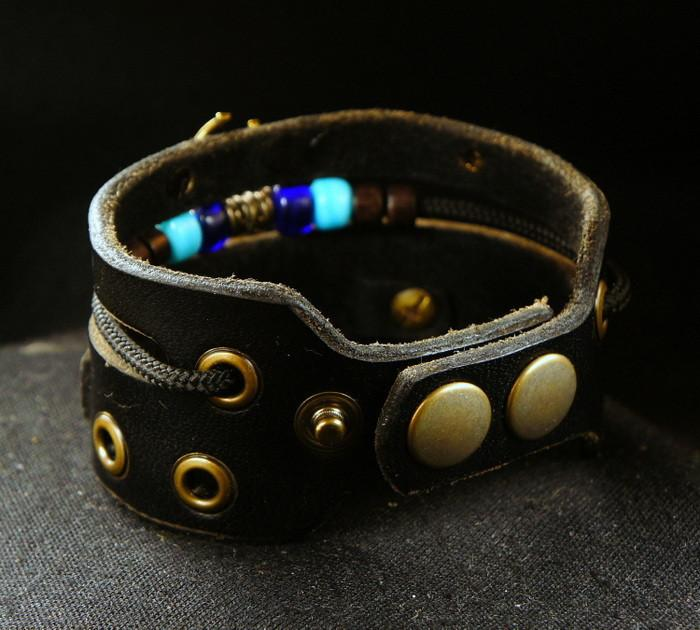 Leather Hamsa Protective Charm Bracelet For Him