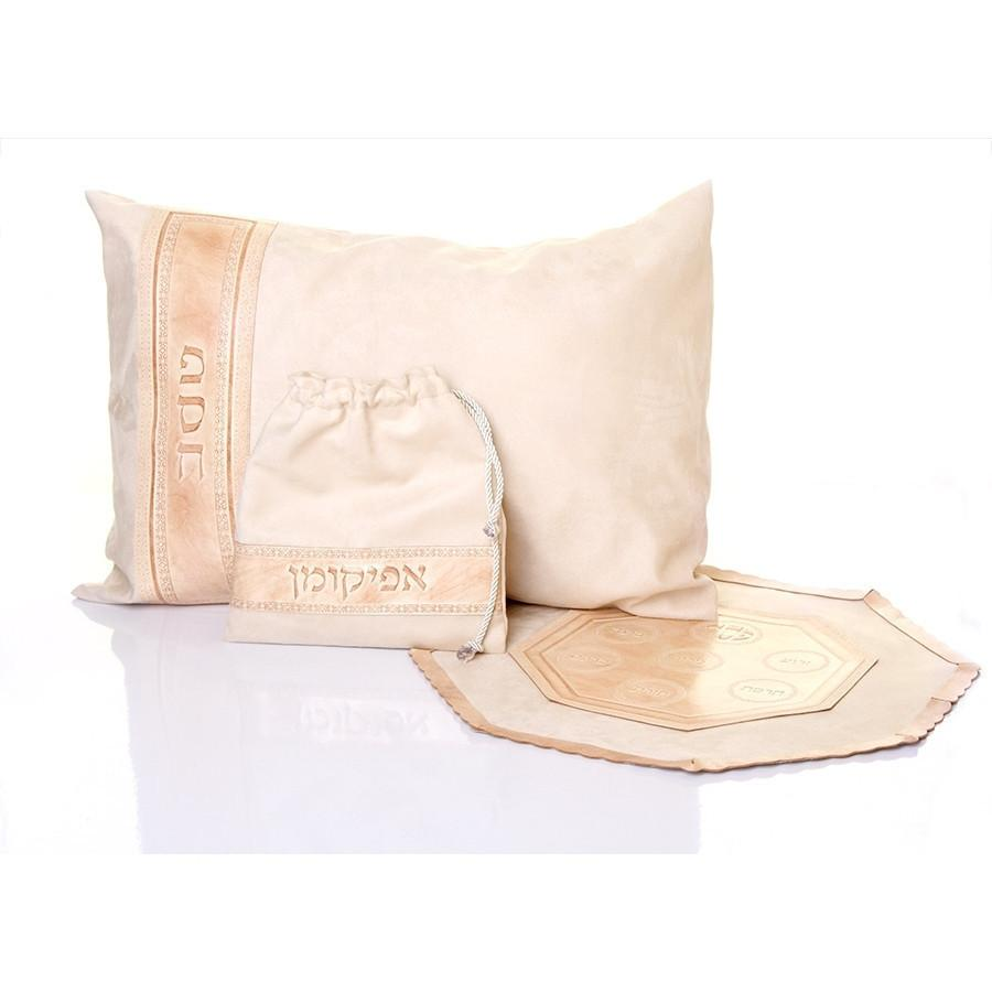 Leather Passover Cover & Pillow Set Cream