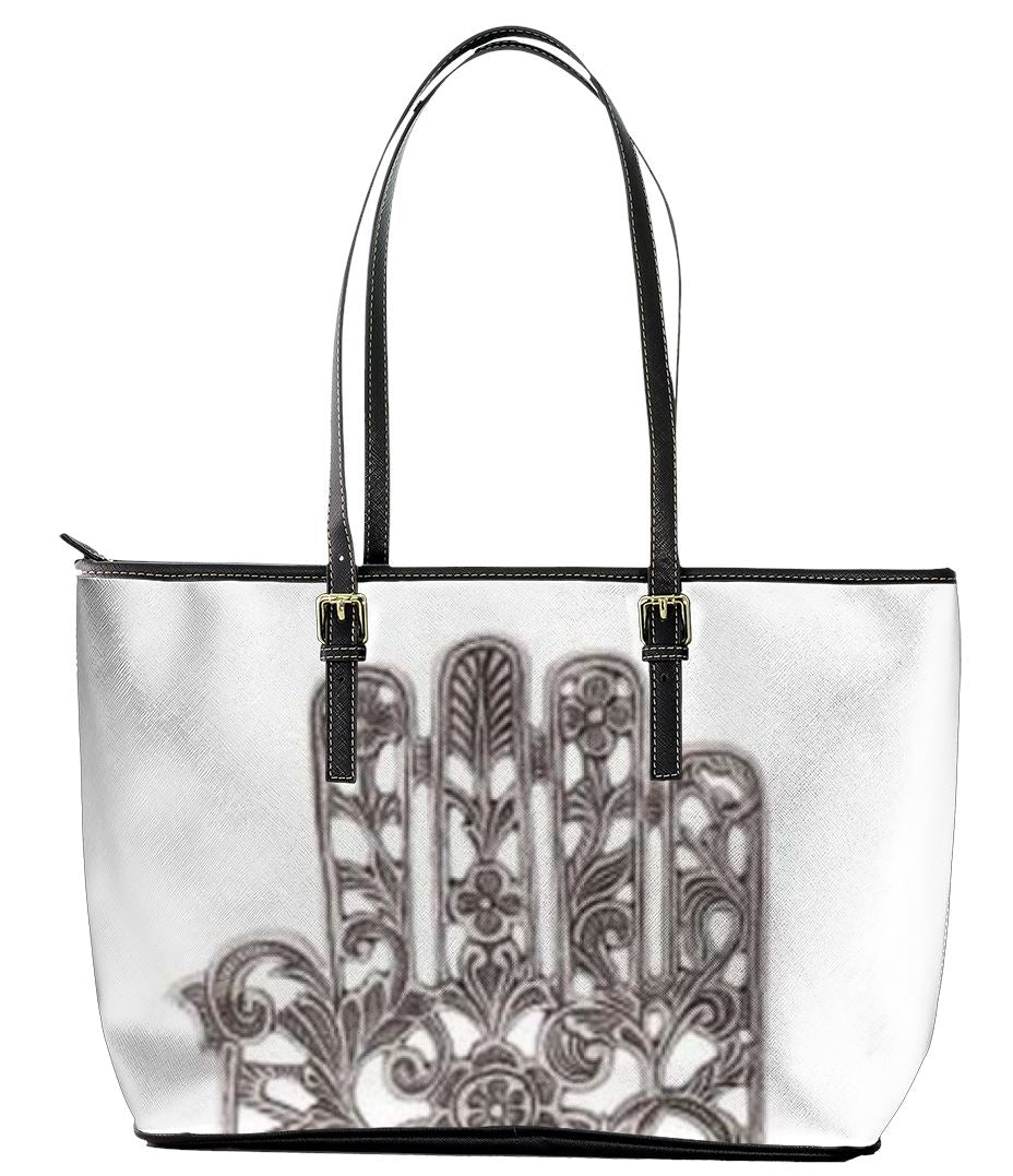 "Leather Tote Bag - The Hand Hamsa Bag Small 16"" x 5"" x 10"""