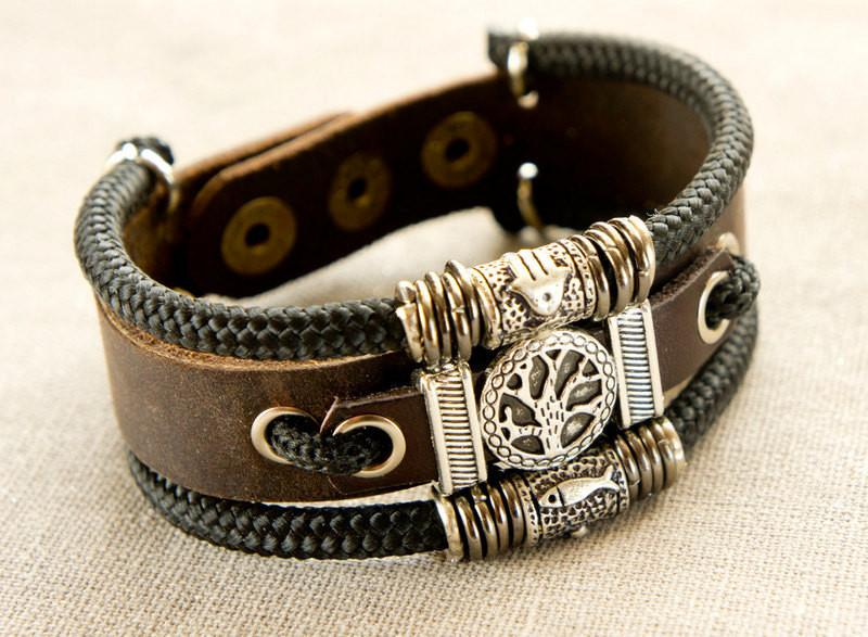 Leather Tree Of Life Bracelet With Hamsa And Fish For Him