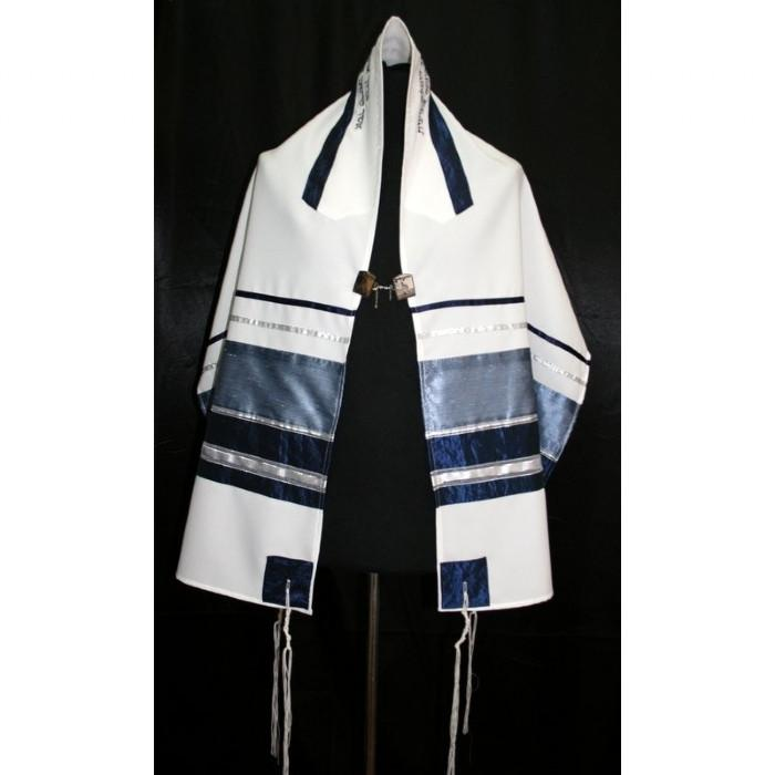 "Light Blue Ribbons Tallit Prayer Shawl 51x72"" (130/180 cm) #55 Wool Embroidery to 10 letters"