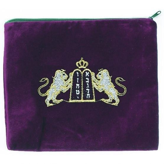 Lion Embroidered Tallit Bag Black