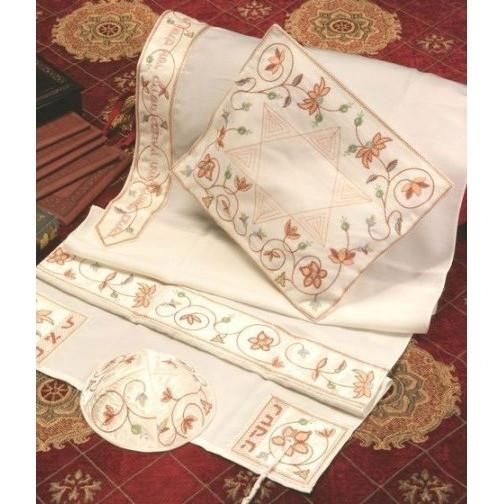 "Lovely Matriarch Tallit 3 Pc. Set Peach 51x72"" (130/180 cm) #55 Wool"