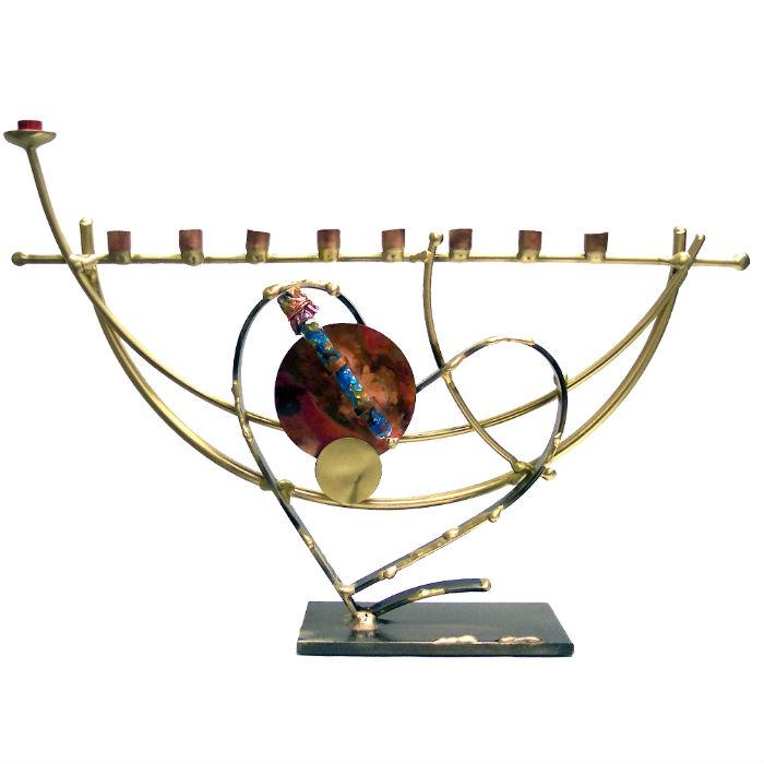 Lunar Heart Wedding Glass Keepsake Menorah By Gary Rosenthal In Blue,brown,multi-Colored,silver,gold Size: 14 W X 9 H Menorah
