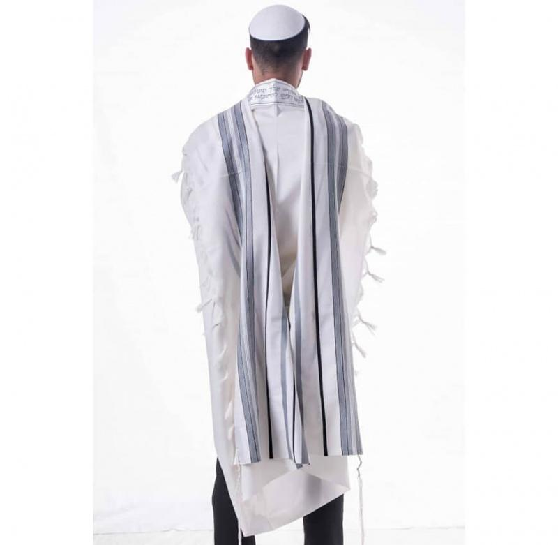 Ma'alot Wool Tallit Grey Silver Thin Black Striping