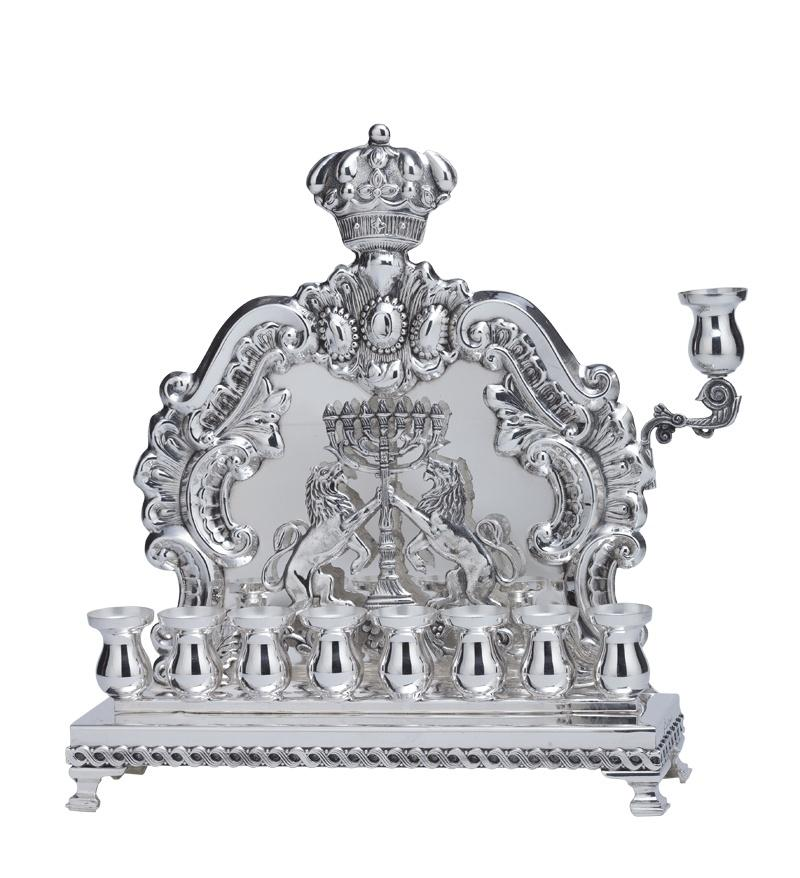Macabbee Lion Wall Menorah - Hashmoniam Hanukkiah Sterling Silver with Pitcher