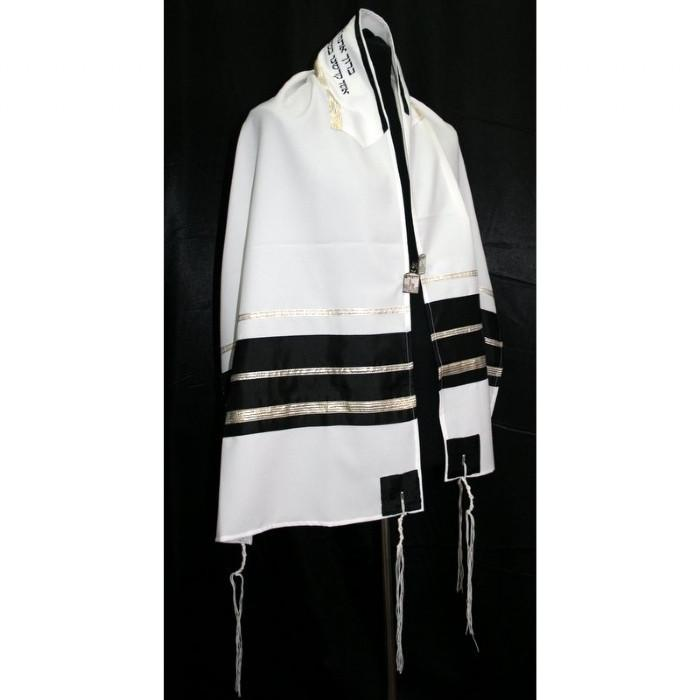 "Majestic Black-Gold Stripes Tallit Set 51x72"" (130/180 cm) #55 Wool Embroidery to 10 letters"