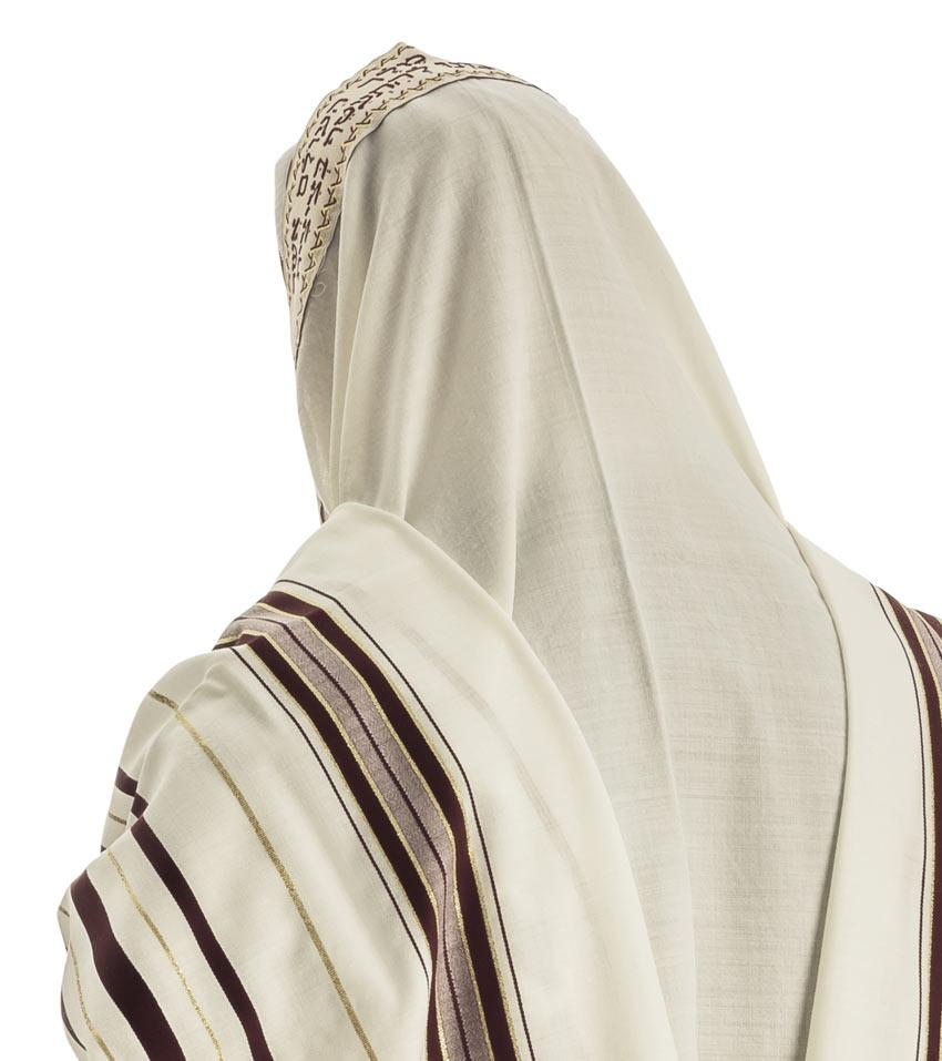 Maroon Bordeaux & Gold Wool Tallit