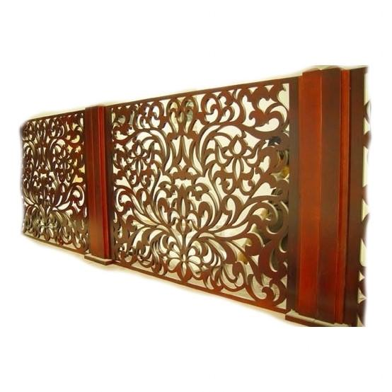 Mehitzah Wood Panel Partition - Fancy Spirals