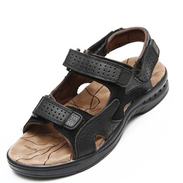 Men Sandals - Genuine Leather Cowhide Summer Outdoor Casual Suede Leather Sandals apparel