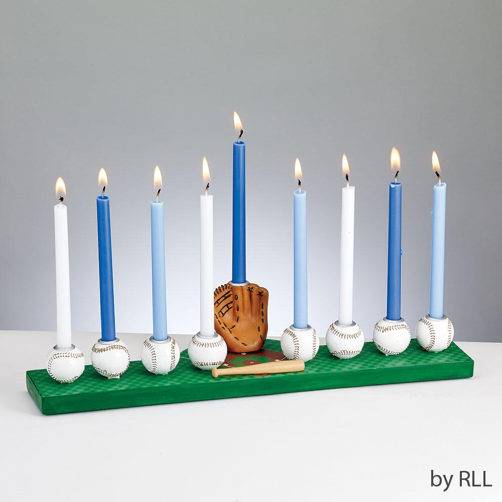 Menorah, Baseball, Hand-painted Resin, Color Box HAN