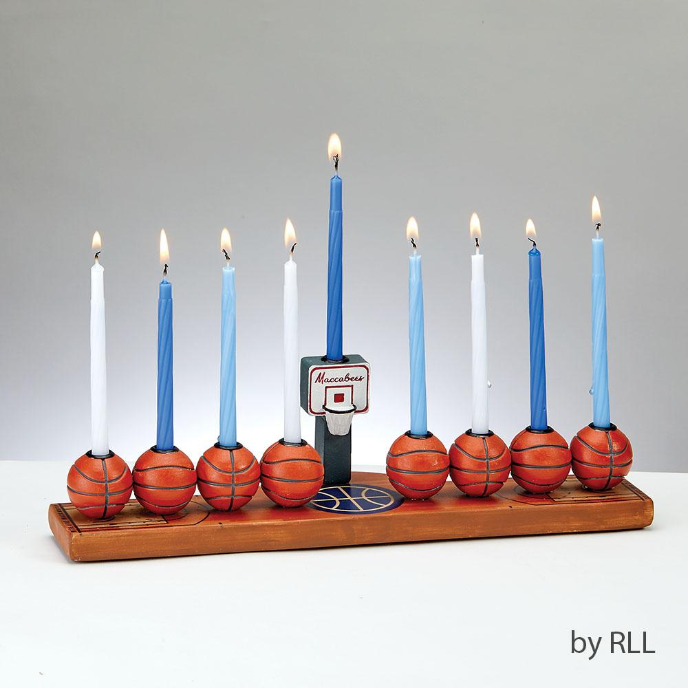 Menorah, Basketball, Hand-painted Resin, Color Box HAN