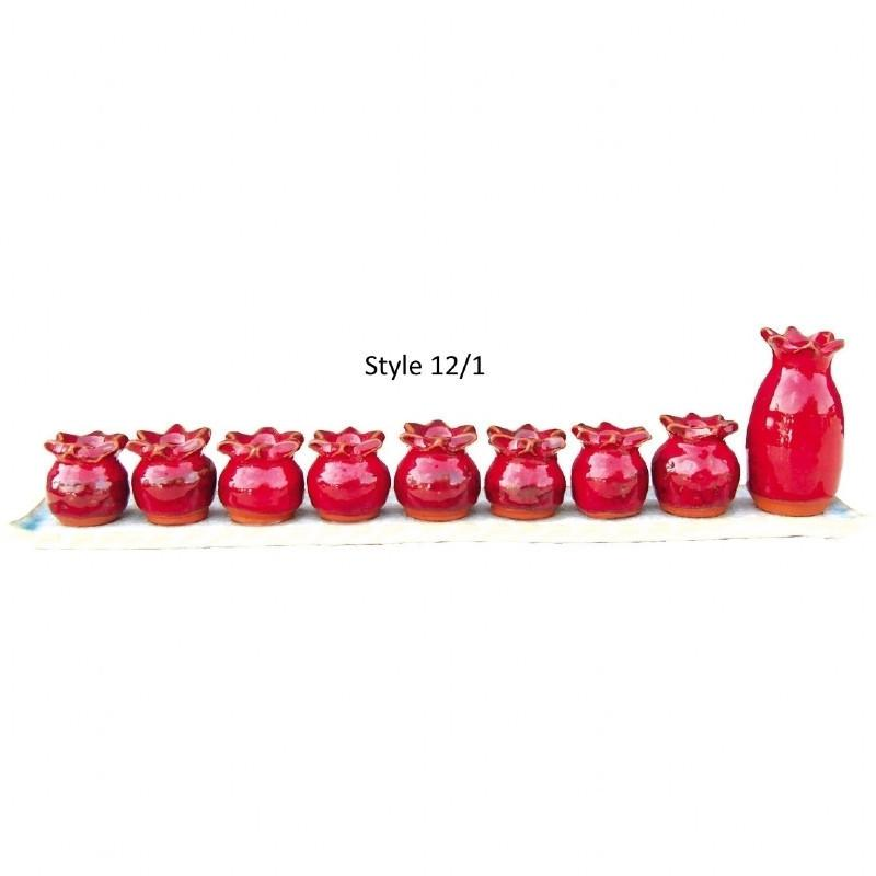 Menorah - Ceramic Red Pomegranates