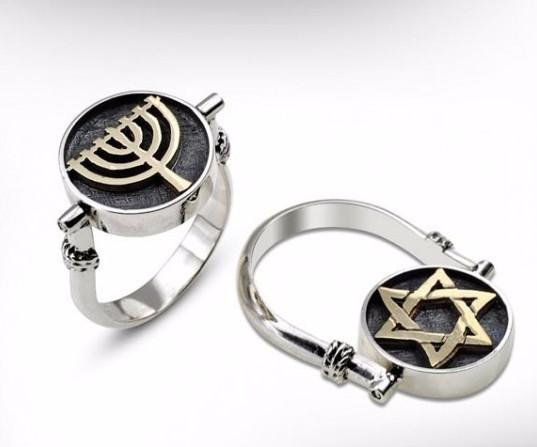 Menorah / Star Of David Sterling Silver Kinetic Ring
