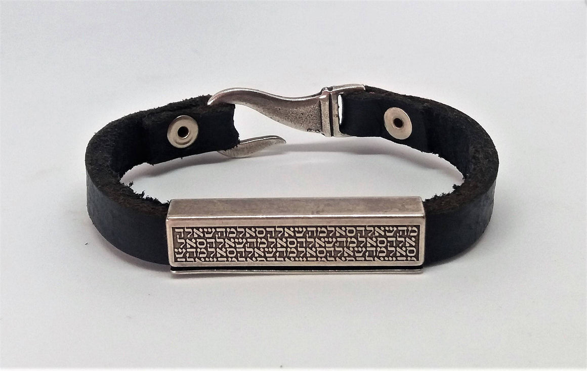 Men's Leather Bracelet, Engraved Bracelet,Men's Silver