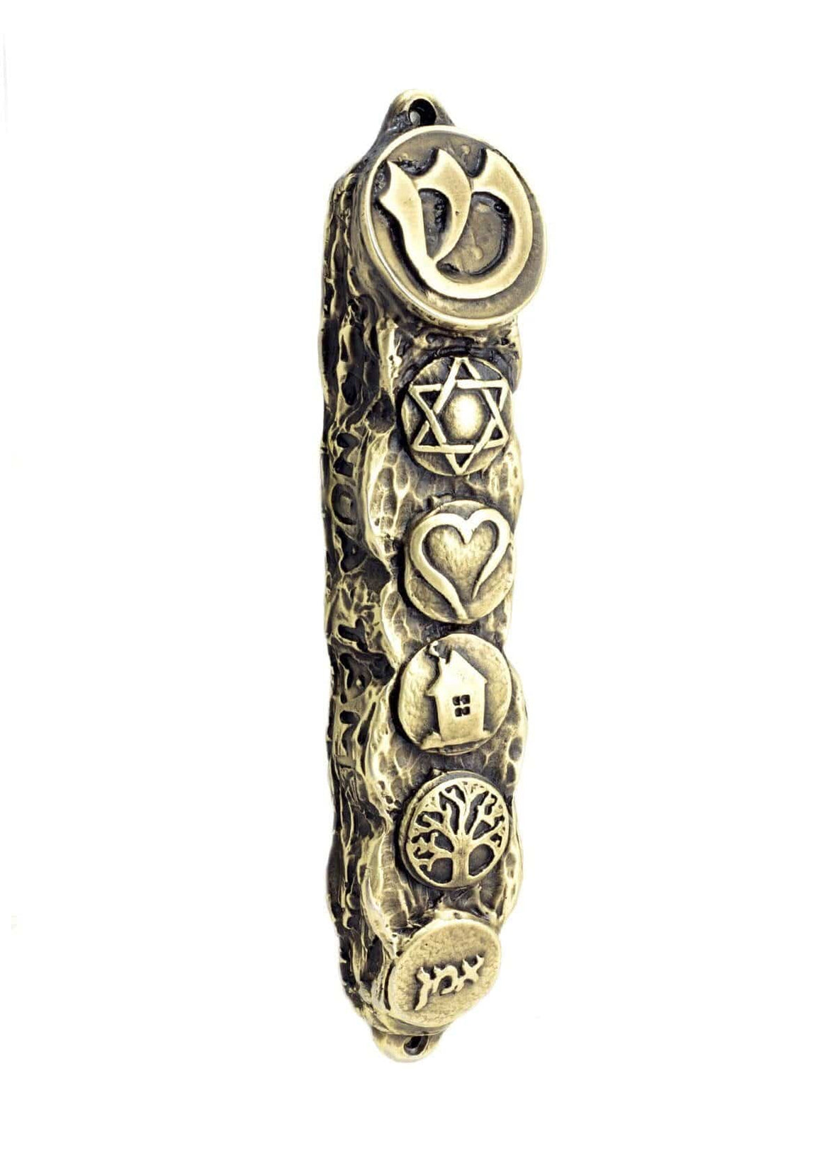 Mezuzah with Bright Symbols & Blessings, Bronze - Small (13cm)