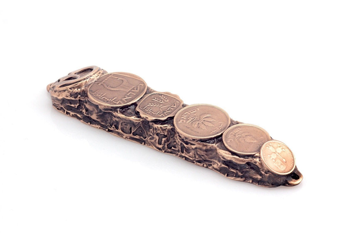Mezuzah with Israeli Collector's Coins & Blessings in Copper - Small (13cm) MEZUZAH