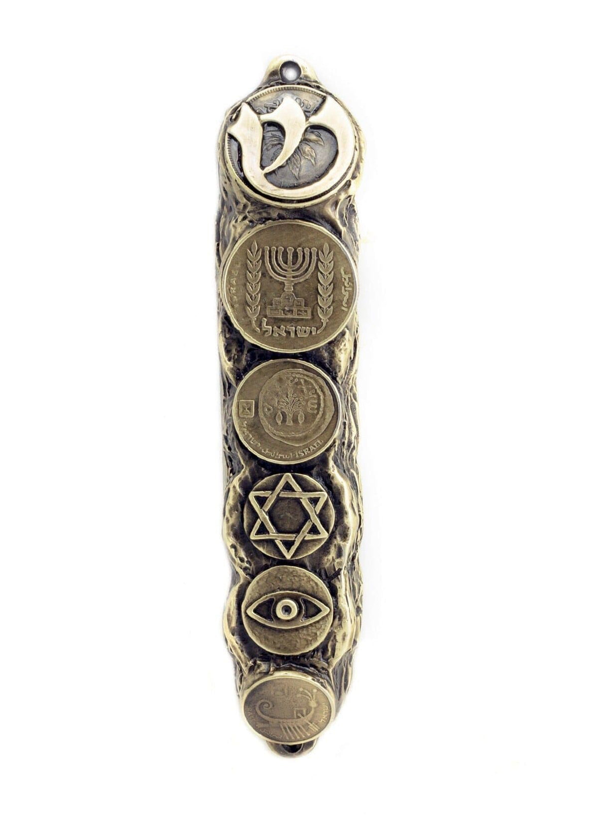 Mezuzah with Judaica Symbols & Blessings in Bronze - Small (13cm)