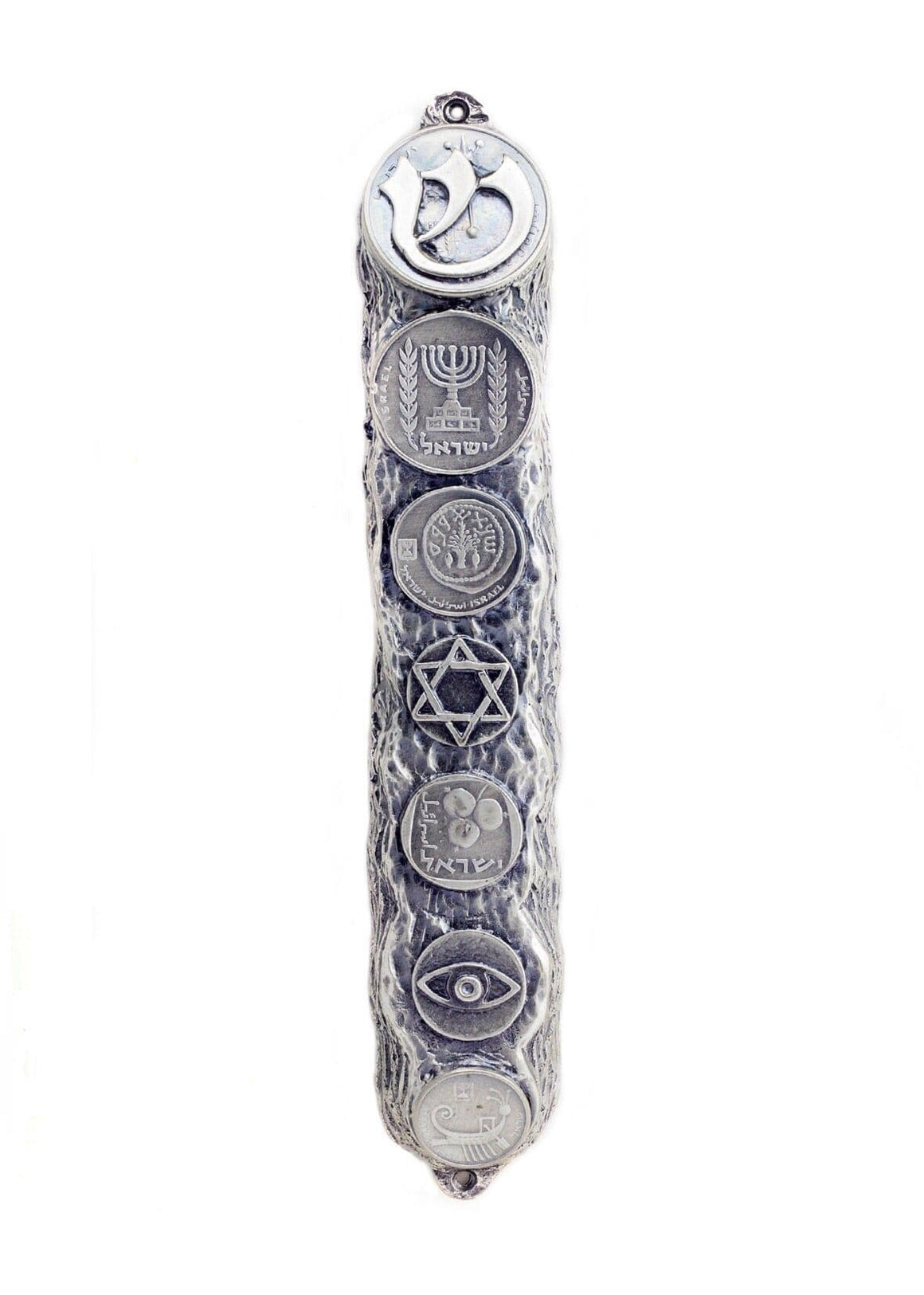 Mezuzah with Judaica Symbols & Blessings in Silver - Big (16cm)