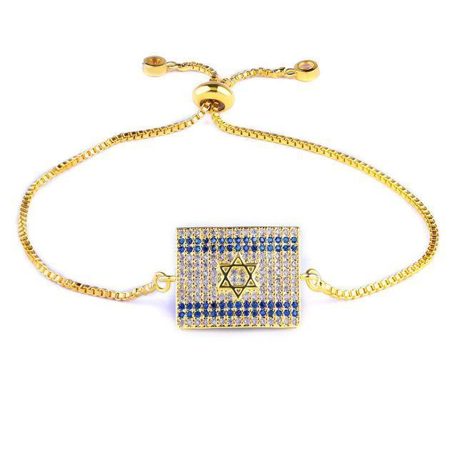 Micro Paved AAA Cubic Zirconia Rhinestone Israel Flag Bracelet bracelets Silver Plated