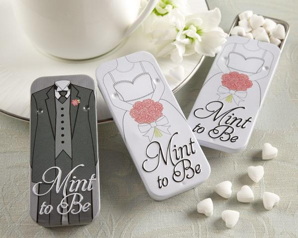 """Mint to Be"" Bride and Groom Slide Mint Tins with Heart Mints Mint to Be Bride and Groom Slide Mint Tins with Heart Mints"