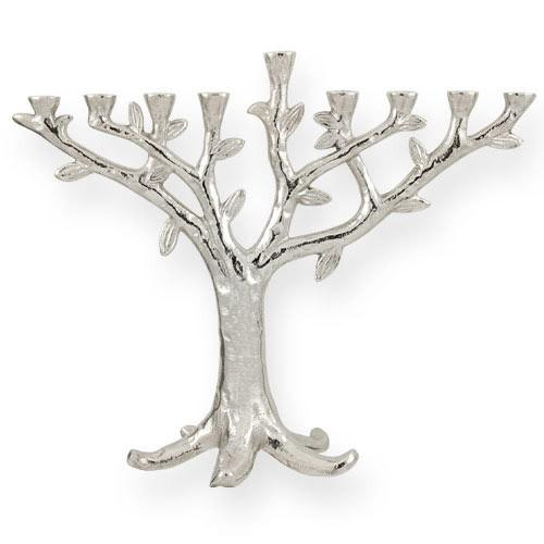 Modern Chrome Plated Tree Of Life Menorah Menorahs