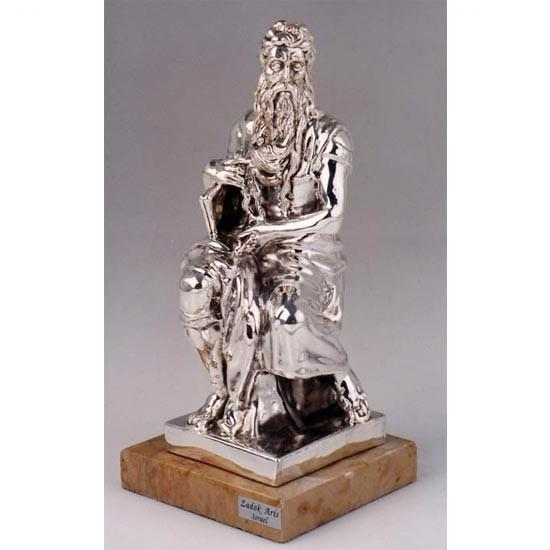 Moses With Ten Commandments Silver Figurine