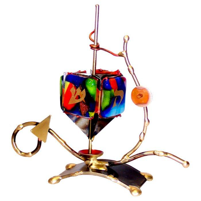 Multi-Colored Displayed Dreidel By Gary Rosenthal In Blue,brown,multi-Colored,red,green,gold Size: 6.5Hx7.5Wx2 Dreidel