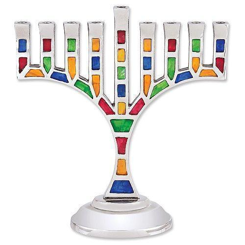 Multi Jeweled Mosaic Menorah Menorah