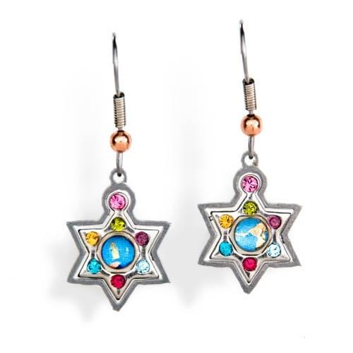Multicolor Star Of David Earrings