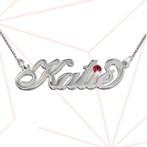 Name Necklace - Carrie Style In Silver & Gem Stone 14 inch Chain (35 cm) Zirconia Clear